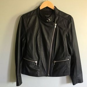 Halogen Black Leather Jacket Sz LP
